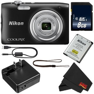 Nikon Coolpix A100 Digital Camera (Black) + 8GB SDHC Card Bundle