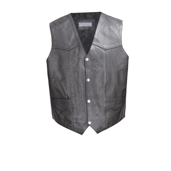 Men Cowhide Leather Motorcycle Biker Classic Western Style Vest Black MBV101