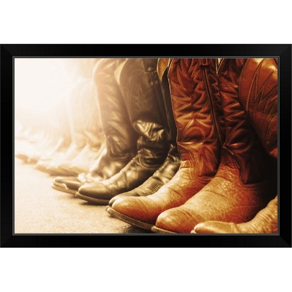 """Row of cowboy boots, Las Vegas, Nevada"" Black Framed Print"