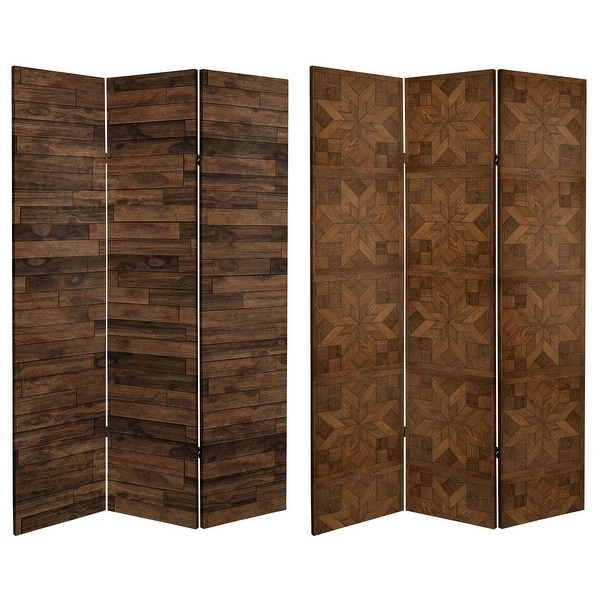 6 ft. Tall Double Sided Walnut Wood Pattern Canvas Room Divider. Opens flyout.