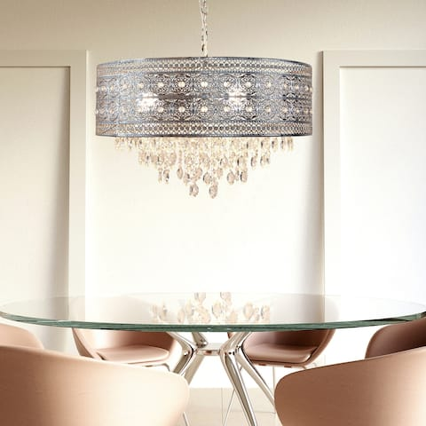 """Silver Orchid Brielle Polished Nickel and Crystal 3-light Chandelier - 23.625""""L x 23.625""""W x 15""""H"""