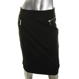MICHAEL Michael Kors Womens Fitted Zipper Trim Pencil Skirt