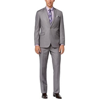 Kenneth Cole Reaction Mens Two-Button Suit Textured Flat Front - 38S