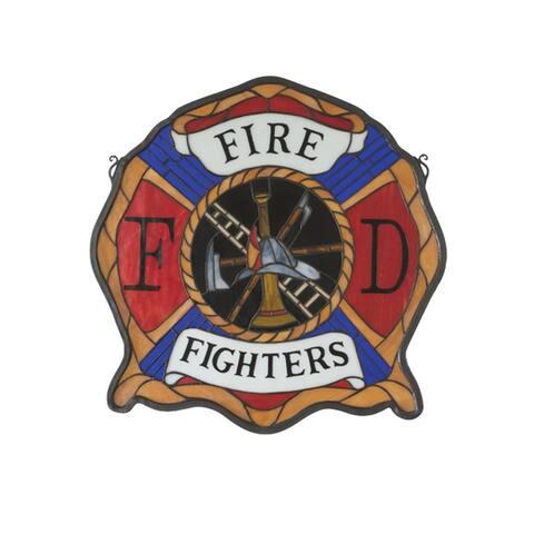 Meyda Tiffany 18999 Tiffany Stained Glass Firefighter's Window Pane