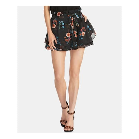 RACHEL ROY Womens Black Ruffled Belted Floral Shorts Size M