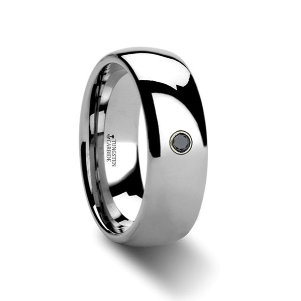 THORSTEN - BRISBANE Domed Black Diamond Tungsten Ring - 6mm