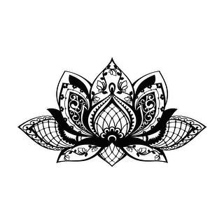 "NEW Mandala Lotus Flower 24""x10"" Wall Art Black Decor PVC Vinyl Decal Sticker"