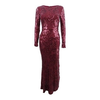 Betsy & Adam Women's Sequined A-Line Gown
