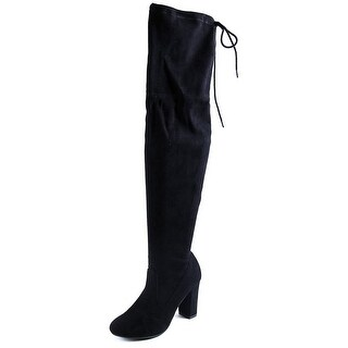 Chinese Laundry Bachelorette Women Round Toe Suede Black Over the Knee Boot