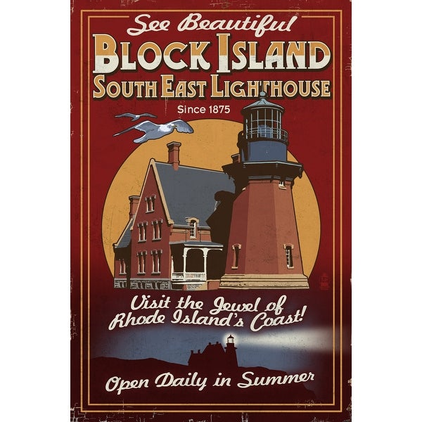 Block Island RI Lighthouse Vintage Sign LP Artwork (Light Switchplate Cover)