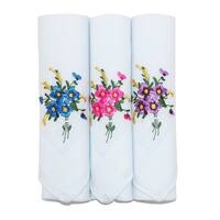 Selini Women's Floral Embroidered Cotton Handkerchief Set (Pack of 3) - One size