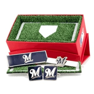 Milwaukee Brewers Cufflinks, Money Clip and Tie Bar Gift Set MLB - Silver