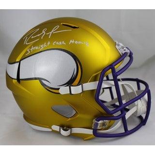 Randy Moss Autographed Minnesota Vikings Blaze Replica Helmet Straight Cash Homie JSA