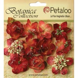 "Burgundy - Botanica Sugared Mini Blooms 1.25"" 11/Pkg"