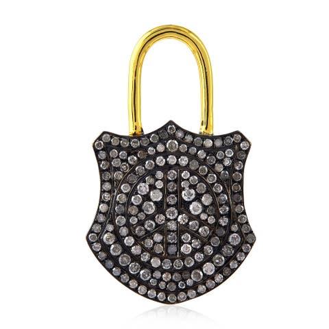 925 Sterling Silver Pave Diamond Lock Pendant Jewelry by Artisan Black Friday Sale