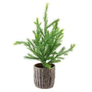 "12"" Artificial Pine Christmas Tree In Faux Wooden Pot"