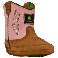 John Deere Baby Girl Pink Western Soft Sole Crib Shoes Boots 0-4