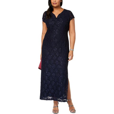 Connected Apparel Womens Plus Evening Dress Lace Sequined
