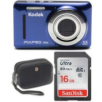 Kodak FZ53 Digital Camera (Blue) with 16GB Memory Card and Case Bundle