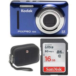 Kodak FZ53 Digital Camera (Blue) with 16GB Memory Card and Case Bundle