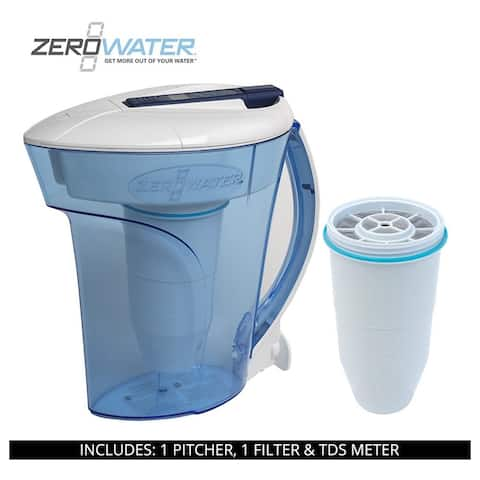 ZeroWater 10 Cup Ready-Pour Pitcher, 2 Filters & TDS Meter, ZD-010RP