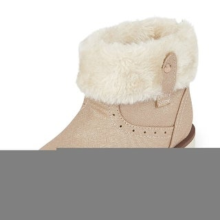 Kids The Children's Place Girls fur lined Fabric Ankle Pull On Snow Boots