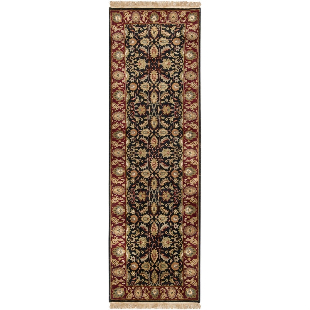 """Thumbnail 1, Hand-knotted Borough Black Wool Area Rug - 2'6"""" x 8' Runner."""