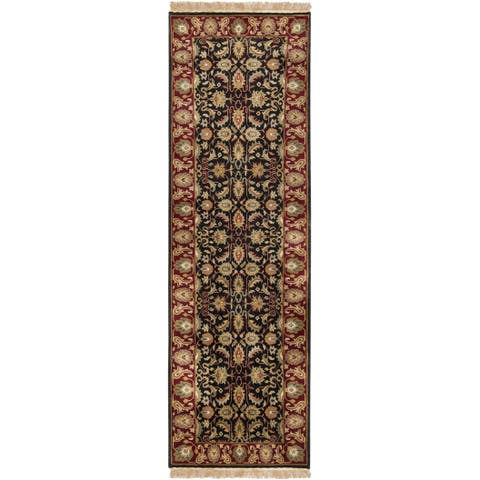 """Hand-knotted Borough Black Wool Area Rug - 2'6"""" x 8' Runner"""