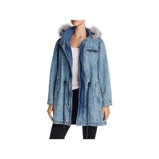 Blank NYC Womens Parka Coat Winter Denim