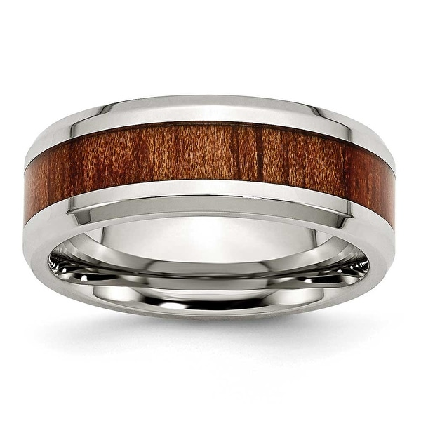 Chisel Stainless Steel Polished Red/Orange Wood Enameled 7.80mm Ring