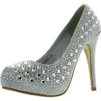 Top Moda Womens Mango-25 Rhinestone Studded Sparkling Platform Stiletto Heel Dress Pumps - Silver