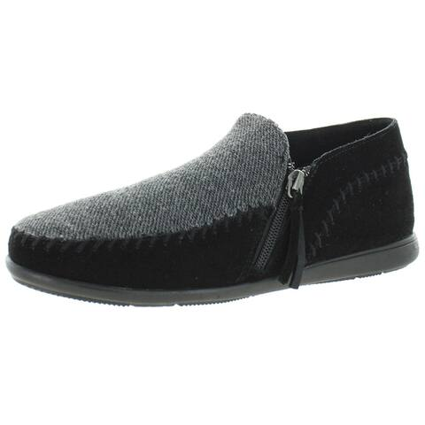 Minnetonka Womens Slip-On Sneakers Leather Colorblock - Black/Gray - 8 Medium (B,M)