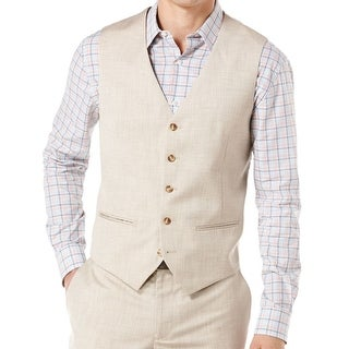 Perry Ellis NEW Beige Natural Mens Size Small S Button Down Vest