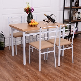 Costway 5 Piece Dining Set Table And 4 Chairs Home Kitchen Dining Breakfast Furniture