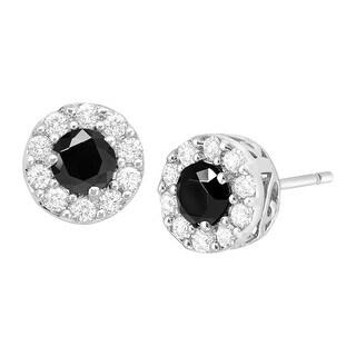 Black & White Cubic Zirconia Halo Stud Earrings in Sterling Silver