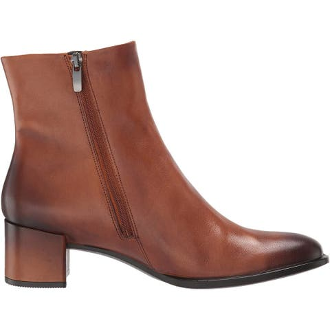 ECCO Women's Shoes Shape 35 Block Leather Almond Toe Ankle Fashion Boots