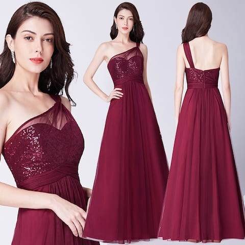 Ever-Pretty Womens One Shoulder Sequin Formal Evening Prom Party Bridesmaid Dress 07446