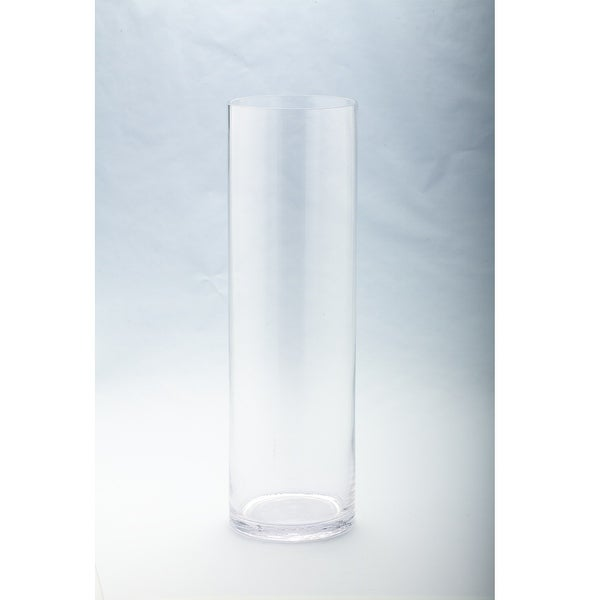 "19.5"" Clear Solid Cylindrical Transparent Glass Vase Tabletop Decor - N/A"