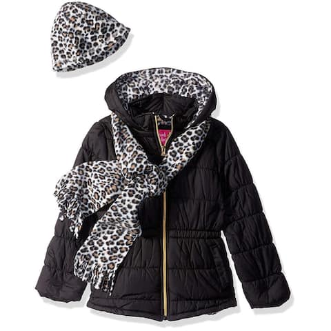 Pink Platinum Girls 4-6X Leopard Quilted Jacket with Scarf