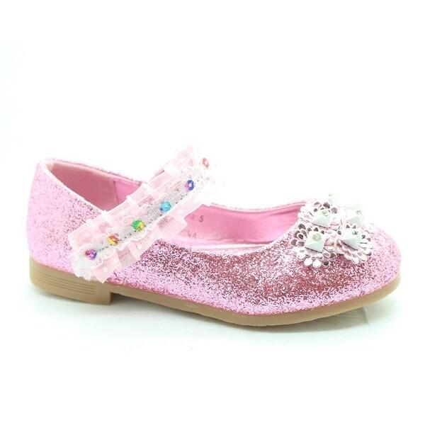 Shop Little Girls Pink Glitter Lace Sequin Stone Adorned Dress Shoes ... 208d82b26fd5