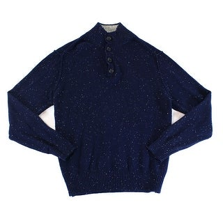 Toscano NEW Blue Mens Size Large L Speckled Mock Neck Wool Sweater