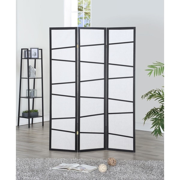 Costway 3 Panel Screen Room Divider Wood Folding Freestanding Parion Privacy Black