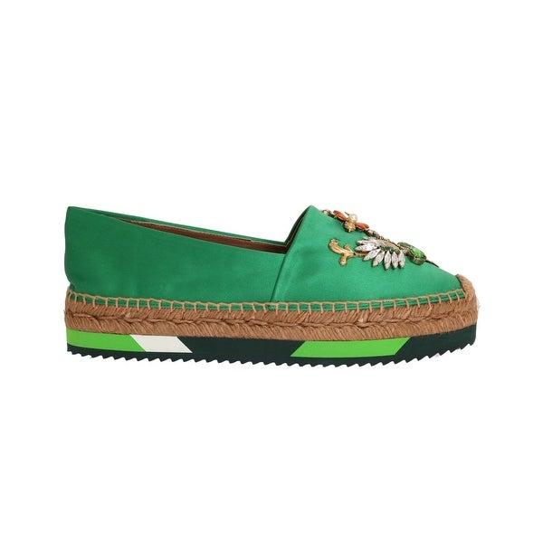 0c187edbed Shop Dolce & Gabbana Dolce & Gabbana Green Silk Raso Crystal ...