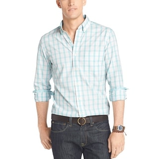 Izod Lightweight Poplin Long Sleeve Plaid Shirt Aqua Blue Radiance Small