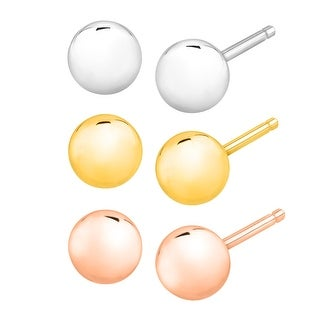 Just Gold Set of 3 Ball Stud Earrings in 14K White, Yellow & Rose Gold - three-tone
