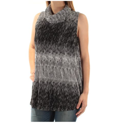 ALFANI Womens Black Pleated Sleeveless Cowl Neck Top Size: L