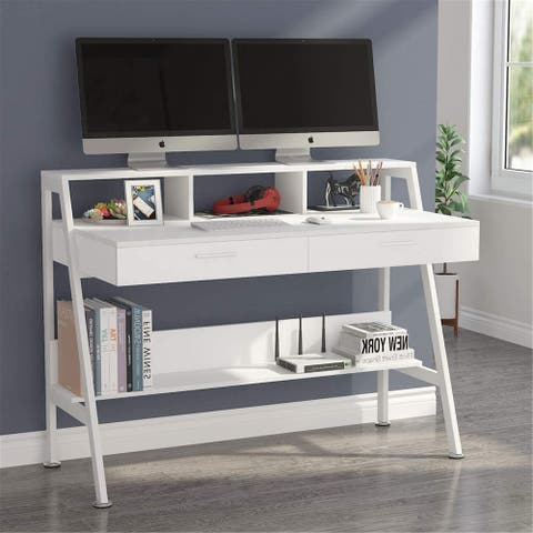 Computer Desk with 2 Drawers, Storage Shelves and Monitor Riser