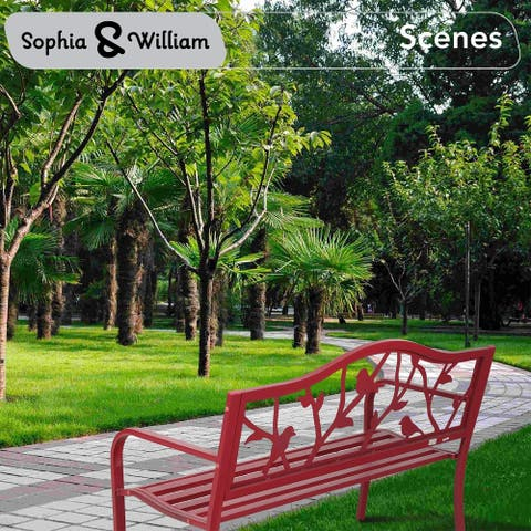 Sophia & William Outdoor Patio Metal Bench Red, Steel Frame Bench with Backrest and Armrests