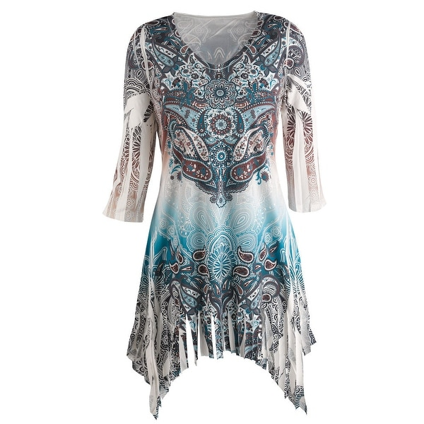 Women's Tunic Top - Istanbul Inspired Paisley Print - Whit & Blue