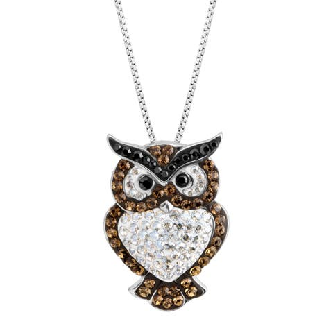 Crystaluxe Owl Pendant with Swarovski Crystals in Sterling Silver - White